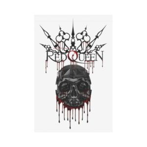 Red Queen Skull Blood Polyester Fabric Flag 12''x18''(Without Flagpole)